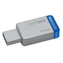 Kingston Technology DataTraveler 50 64GB 64GB USB 3.0 (3.1 Gen 1) Type-A Blu, Argento unità flash USB